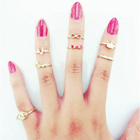 A Suit of Sweet English Letter Crown Rings For Women - GOLD ONE SIZE