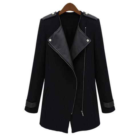 Stylish Lapel Collar PU Leather Splicing Long Sleeves Women's Trench Coat