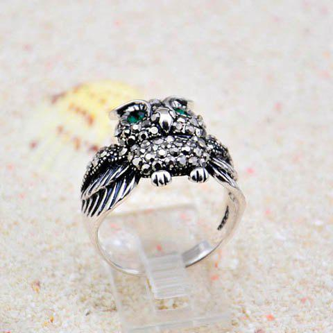 Outfit Vintage Rhinestoned Owl Shape Alloy Ring For Women