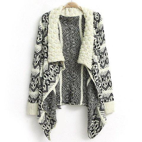 Fashion Wide Turn-Down Collar Knit Hook Flower Embellished Irregular Geometric Pattern Design Long Sleeves Women's Coat