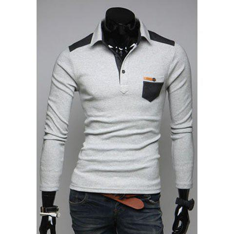Outfit Fashionable Style Shirt Collar PU Leather Splicing Slimming Cotton Polo Shirt For Men LIGHT GRAY M