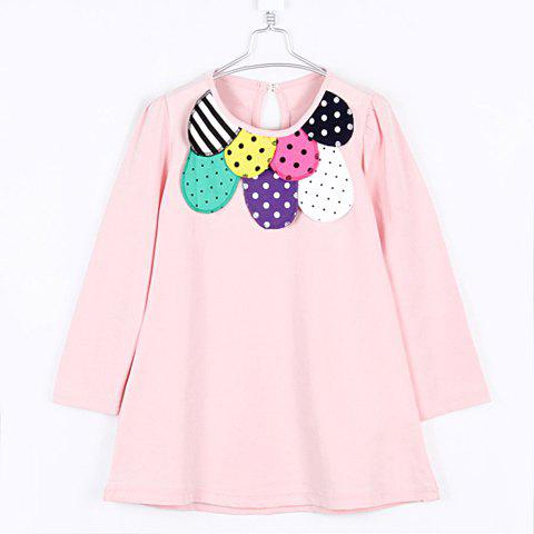 Sweet Style Scoop Neck Colormix Polka Dot Long Sleeves Cotton Blend T-Shirt For Kids