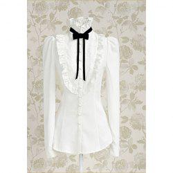 Vintage Stand Collar Bow Floral Embroidery Flouncing Puff Sleeve Women's Shirt -
