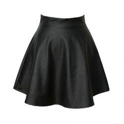 Vintage High Waist Flouncing Solid Color PU Leather Women's Skirt -