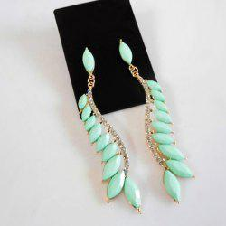 Pair of Fresh Style Solid Color Diamante Long Earrings For Women -