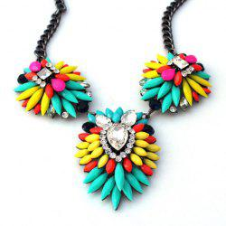 Fashion Iridescent Color Faux Gemstone Embellished Pendant Necklace For Women