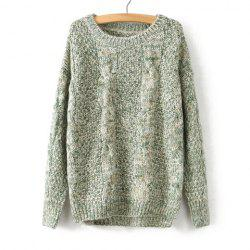 Vintage Scoop Neck Cable-Knit Long Sleeve Sweater For Women -