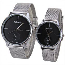 Valentine WoMaGe Quartz Watch with Strips Indicate Steel Watch Band for Couple - Blue -