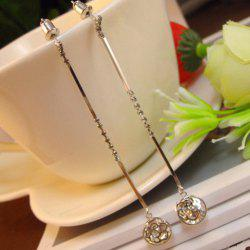 Pair of Stylish Diamante Hollow Rose Pendant Long Alloy Earrings For Women -