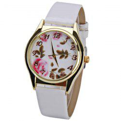 Quartz Watch with 12 Numbers Indicate Leather Watchband for Women - White