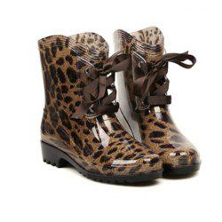 Fashion Lace-Up and Round Toe Design Women's Rain Boots -
