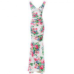 Floral Print Ladylike Style V-Neck Sleeveless Polyester Women's Maxi-Dress -