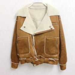 Vintage Lapel Collar Zipper Up Belted Long Sleeves Women's Jacket -