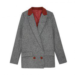 Vintage Lapel Collar Color Matching Long Sleeves Women's Long Blazer - DEEP GRAY