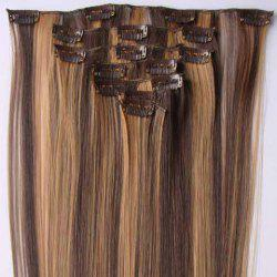 Stylish Long Straight High Temperature Fiber Women's Clip-In Hair Extension(P4/27) -