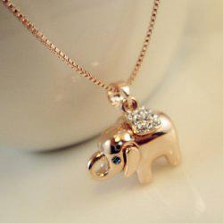 Fashion Cute Diamante Elephant Pendant Alloy Necklace For Women -