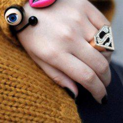 Sweet Rhinestoned Letter S Pattern Design Triangle Ring For Women
