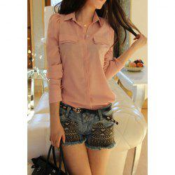 Solid Color Puff Sleeves Shirt Neck Polyester Refreshing Style Women's Shirt -