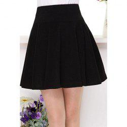 Vintage Empire Waist Black Pleated Skirt For Women -