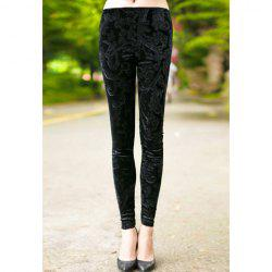Vintage Floral Pattern Elastic Narrow Feet Women's Pants -