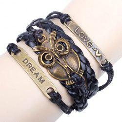 Vintage Night Owl Letter Braided Friendship Bracelet - BLACK