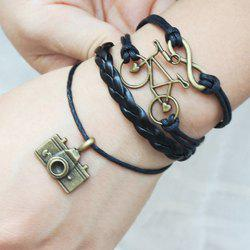 Vintage Infinity Bike Camera Multilayered Friendship Bracelet - BLACK