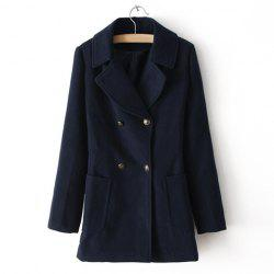 Vintage Notched Collar Double-Breasted Pockets Design Long Sleeves Women's Coat -