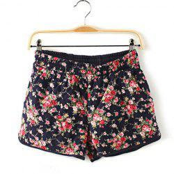 Casual Floral Print Cotton Shorts For Women -