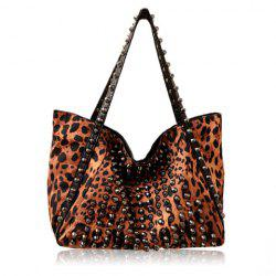 Punk Style Leopard Print and Rivets Design Women's Shoulder Bag -