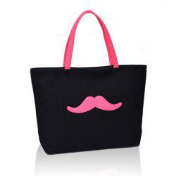 Sweet Moustache Print and Canvas Design Women's Shoulder Bag -
