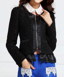 Cute Scoop Neck Flounce Hem Polyester Women's Jacket - BLACK