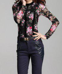 Stylish Round Neck Floral Emboridery Long Sleeve Lace Blouse For Women -