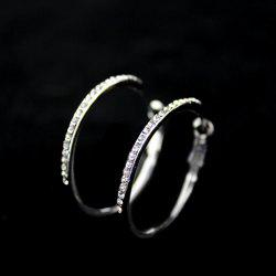 Pair of Rhinestoned Alloy Hoop Earrings -