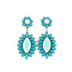Pair of Bohemian Colored Faux Gemstone Embellished Flower Earrings For Women -