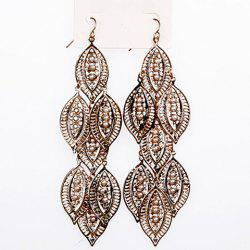 Pair of Retro Faux Pearl Embedded Leaf Shape Earrings -