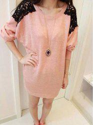 Long Sleeves Scoop Neck Lace Embroidered Stitching Long Sections Asymmetrical Hem Loose-Fitting Casual Women's Sweater - PINK