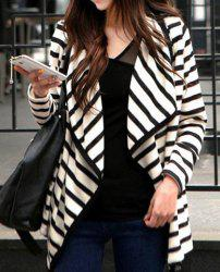 Women's Stripe Cardigan Long Sleeve Cotton Coat - STRIPES