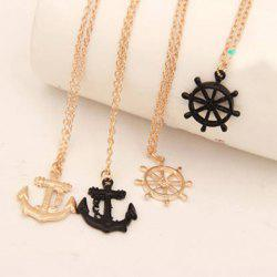 Sweet Anchor Rudder Pendant Necklace For Women -