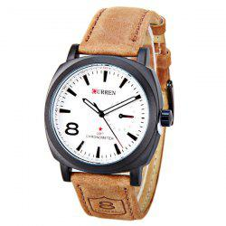 CURREN 8139 Unisex Quartz Watch 1 Arabic Number and Trapezoids Indicate Leather Watchband - WHITE