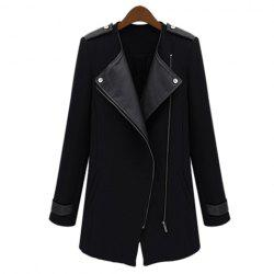 Stylish Lapel Collar PU Leather Splicing Long Sleeves Women's Trench Coat -
