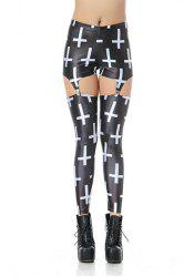 Sexy White Cross Print Clip Blend Women's Leggings -
