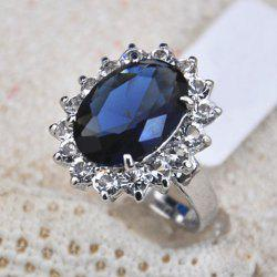 Faux Sapphire Embellished Diamante Alloy Ring -