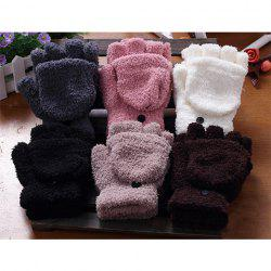 Pair Of Sweet Cashmere Hooded Winter Gloves With Exposed Fingers For Women - COLOR ASSORTED