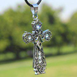 Diamante Carved Design Cross Pendant Necklace - WHITE