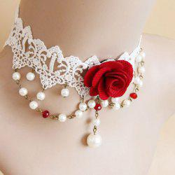 Lace Faux Pearl Design Flower Shape Choker Necklace