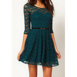 Ladies Round Neck 3/4 Sleeve Lace Dress - GREEN