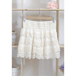 Hot Lace Elastic Waist Shorts - OFF-WHITE