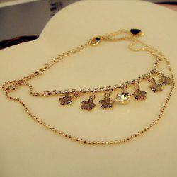 Fashion Wintersweet Flower Pendant Diamante Multi-Layered Alloy Anklet For Women -