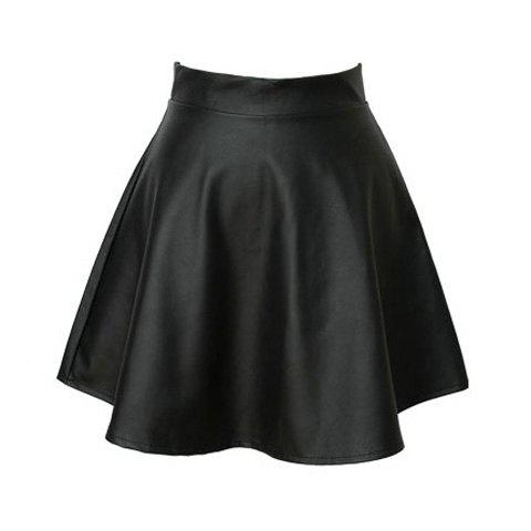 Cheap Vintage High Waist Flouncing Solid Color PU Leather Women's Skirt