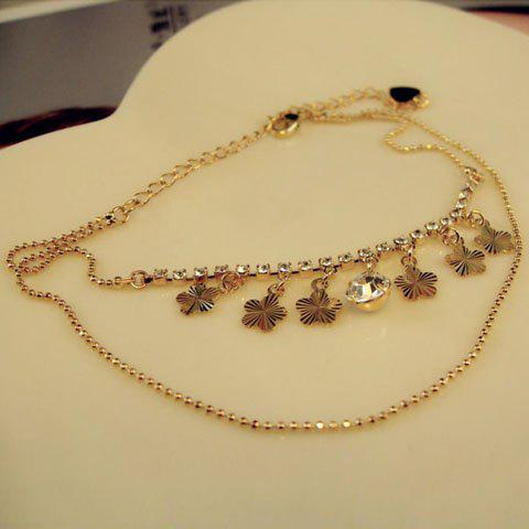 New Fashion Wintersweet Flower Pendant Diamante Multi-Layered Alloy Anklet For Women
